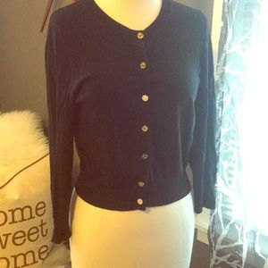 Navy blue cardigan with gold buttons
